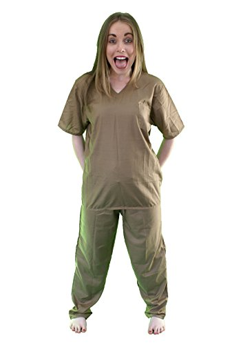 Orange or Beige Ladies Prison Suit (Men: Large, Beige) by The Cosplay Company