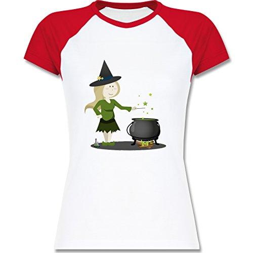 Halloween - kleine Hexe - zweifarbiges Baseballshirt / Raglan T-Shirt für Damen Weiß/Rot