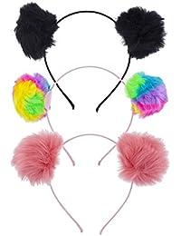 Lux Accessories - Juego de 3 diademas multicolores para gato
