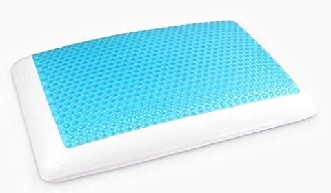 XIAOMEIXI Nouvelle technologie de refroidissement de gel Oreiller de mémoire de polyester Confortable Le meilleur pour la douleur de cou et les maux de tête Le lit hypoallergénique résistant aux acariens de