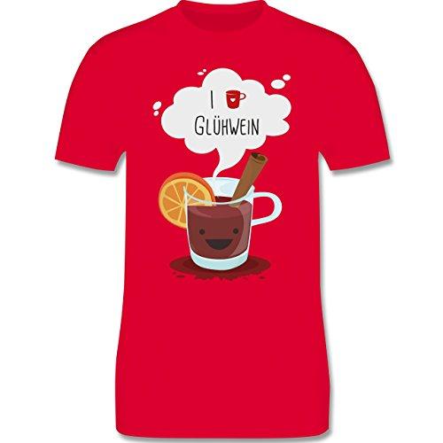 Weihnachten & Silvester - I love Glühwein glückliche Tasse - Herren Premium T-Shirt Rot