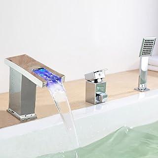 AiMi- Badewannenarmaturen - Zeitgenössisch - LED/Wasserfall/Seitendüse - Messing ( Chrom )