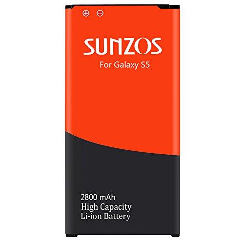 Glalaxy S5 Akku, SUNZOS 2800mAh Akku für Samsung Galaxy S5 SM-G900F Ersatz Original EB-BG900BBE Accu Batterie Battery  (T-mobile-handy-batterien)