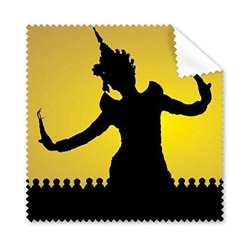 Glas Traditionellen Schatten (DIYthinker Königreich Thailand Traditionelle Thai Customs Kultur Schatten Buddhismus Tänzer-Kunst-Illustration Brillenputztuch-Reinigungstuch Telefon Screen Cleaner 5Pcs)