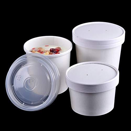 Starke Farbe Papier Eisbecher Mit Deckel Einweg Dessert Kuchen Tasse Schüssel Umweltfreundliche Party Geschirr 100 Teile/Los (Color : 26oz)