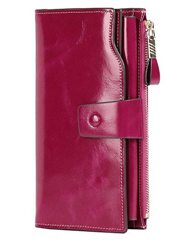 PARVENZA Femme Portefeuille RFID Blocage Bourse Cuir Véritable de Cire Porte-Monnaie Grande Capacité Purse Wallet Rosé PVZ0702R