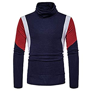 JUSTSELL Langarmshirts Pullover Herren Herbst Winter,Männer Hoher Kragen Sweatshirt Warm Bleiben Lange Ärmel Sweatshirt Ärmel in Mehreren Farbe Pullover