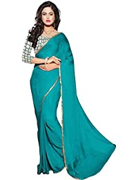 Navanya Couture Women's Saree In Chiffon With Embroideried Net Blouse Piece Lace Border (Free Size)
