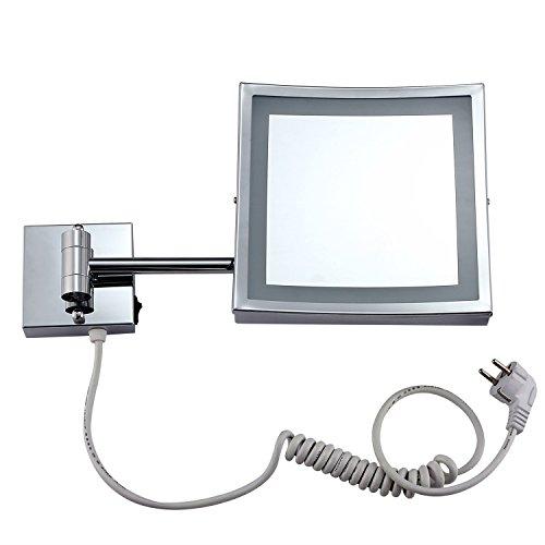 9Inch Square LED Schminkspiegel, Wandhalterung Teleskop-Klappspiegel, Badezimmer-Rasierspiegel, 360 ° -Rotation