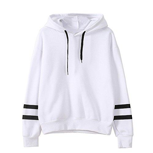 Xmiral Damen Sweatshirt Herbst Langarm Hoodie Jumper Baumwollmischung Pullover Tops Bluse (XL,Weiß)