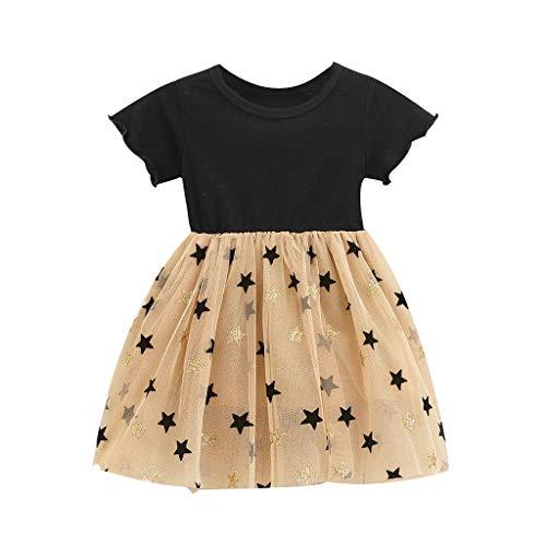 Livoral Mädchen Falten Patchwork Sterne drucken Kleid Kleinkind Baby Kinder Freizeitkleidung(Schwarz,120)