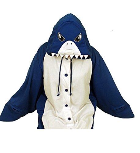 Canberries Damen Herren Jumpsuit Tier Onesie Einhorn Panda Pinguin Giraffe Pyjamas Jumpsuit Anime Cosplay Karneval Kostüm Schlafanzug Erwachsene (XL, Hai)