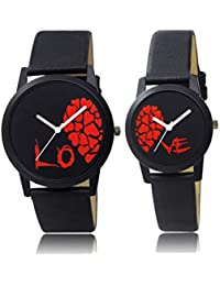REMIXON Couple Watch with Half Love White Dial Men & Women Analog Watch - for Couple (Red)
