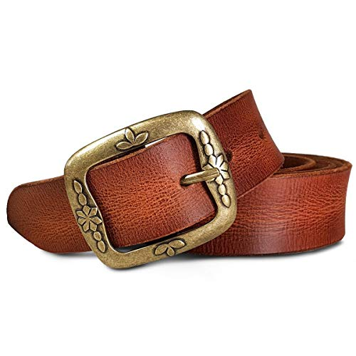 Royalz vintage cintura in pelle donna in pelle di bufalo 38mm larga per jeans accorciabile cinta in vero cuoio, dimensione:115, colore:cognac brown - fibbia design antik-floreale