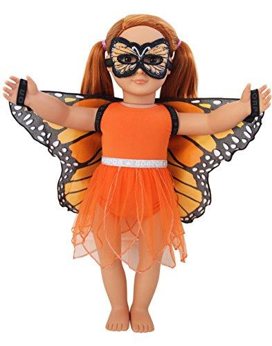 DREAMY DRESS-UPS 71241 - Juego de 4 Piezas para muñecas de 46 cm, diseño de Mariposa, monarca (Danaus Plexippus)
