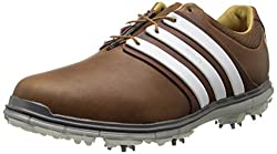 adidas Mens Pure 360 LTD Golf Shoe Tan Brown/Tour White/Silver Metallic 8 D(M) US
