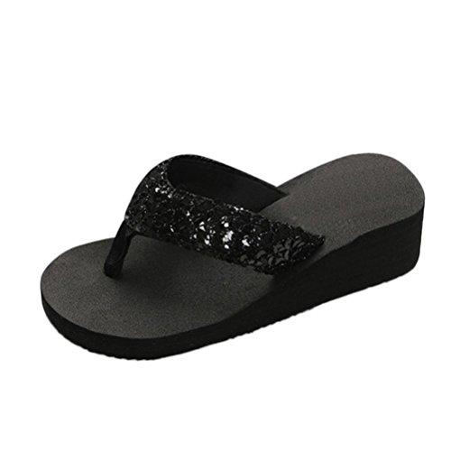 Yesmile Sandalias para Mujer Zapatos Casual de Mujer Sandalias de Verano para Fiesta y Boda Sandalias Antideslizantes de Verano para Mujer Sandalias de Casa Chanclas Interior y Exterior (40, Negro)