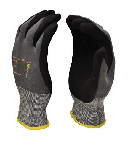 G & F endurancepro Seamless Strick Handschuhe Nylon mit Micro-Nitril-Beschichtung, Herren Handschuhe, mittelgroß, Schwarz, schwarz, 1529XL-3