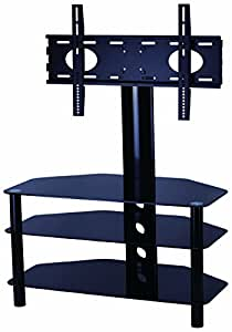 """Mountright Cantilever Glass TV Stand For Up To 50"""" LED, LCD & Plasma Screen - Black Gloss"""