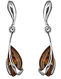 Amber Sterling Silver Earrings - Celtic Green Amber Fancy Dangly Drop - For Amber Jewellery Lovers