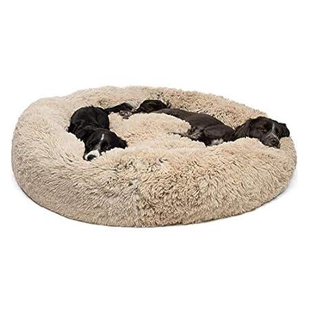 Segle Deluxe Rundes Haustierbett für Hunde und Katzen, weich, waschbar,Hundebett Gepolstert Katzenbett mit Kissen ideal…