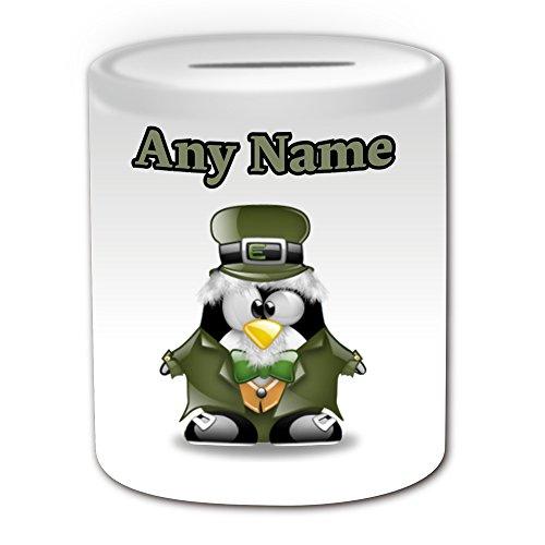 Personalisiertes Geschenk–Leprechaun Spardose (Design Pinguin in Kostüm Thema, weiß)–alle Nachricht/Name auf Ihre einzigartige–Zeichen Silly Funny kawaii Neuheit Cartoon Anime Animation Art Clipart Zeichnen Favourite Fancy Märchen Folk Magic Myth Mystery (Custom Märchen Made Kostüme)