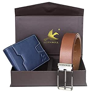 Hornbull Men's Navy Wallet and Brown Belt Combo BW102110