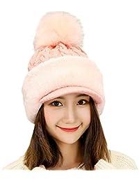 Yonglan Womens Christmas Warm Knit Beanie Hat Scarf Cotton Blend Winter Ear  Protection Cap ec1b1f6a491c