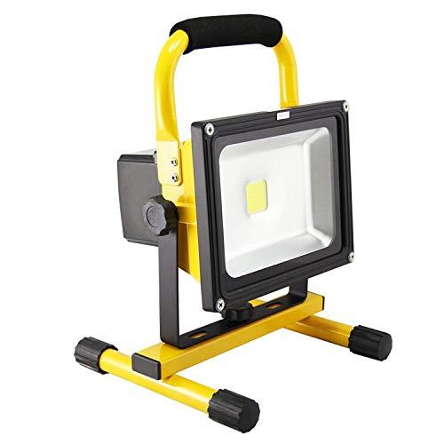 LED Baustrahler - LED Strahler Akku Arbeitsscheinwerfer - Campinglampe Angeln Beleuchtung Outdoor Laterne Werkstatt Fluter -Gelb Wasserdicht IP65 ()
