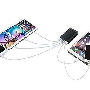 TomTech ® Adaptateur secteur USB 6 ports 60W Chargeur Qualcomm Quick Charge , Câble Micro USB de Quick Charge, pour iPhone, Samsung et autres appareils USB 6 Ports 12V 5A 60W -Noir (inclut pas le Ligne de données)