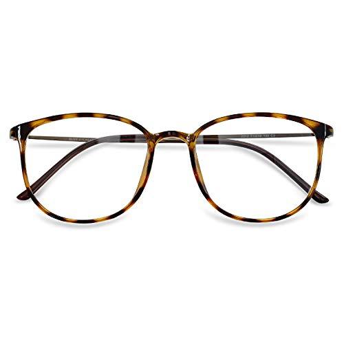 KOOSUFA Klassische Retro Brillengestelle Nerdbrille Herren Damen Dünne Brille Ohne Sehstärke Streberbrille Groß Pantobrille Ultra Licht TR90 Brillenfassung mit Etui (Leopard)