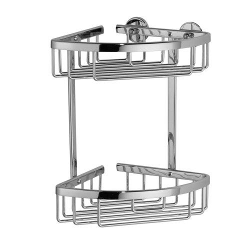 Nie Wieder Bohren Aluxx Duschablage, für die Ecke, zweistöckig, Aluminium, verchromt, rostfrei, inkl. Klebelösung, 260mm x 163mm x 170mm