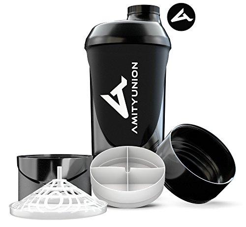 Protein Shaker mit Pulverfach 700 ml von AMITYUNION - Eiweiß Shaker Deluxe auslaufsicher - BPA frei - Sieb Skala für Whey & BCAA Shakes, Gym Fitness Becher für Isolate, Sport Konzentrate - Schwarz Cup - Frei Nach Unten Sitz