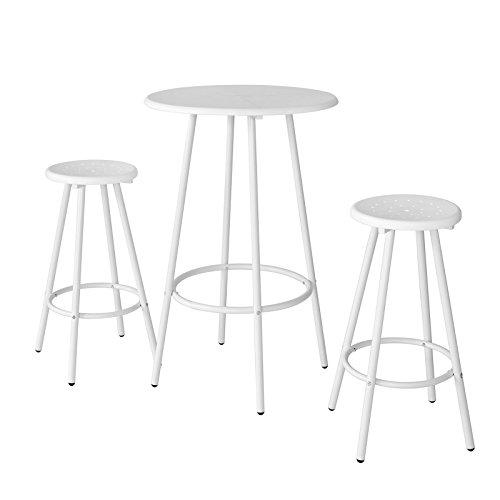 Preisvergleich Produktbild SoBuy® Bartisch Set, Stehtisch, Bistrotisch, Gartenmöbel Set,Sitzgruppe, OGT08-W