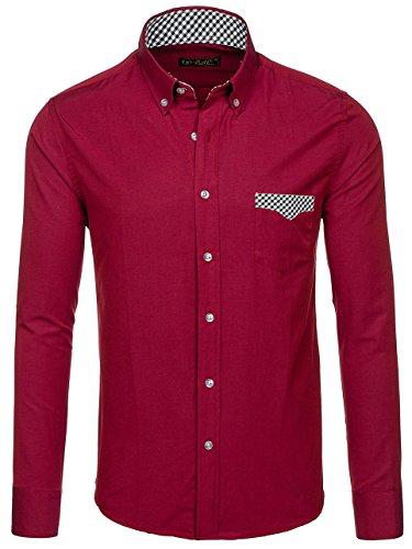 BOLF Langarm Herrenhemd Hemd Figurbetont Freizeit Slim Fit 4711 Weinrot