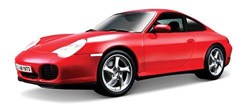 Maisto Porsche 911 Carrera 4S, Modellauto mit Federung, Maßstab 1:18, Türen und Motorhaube beweglich, Fertigmodell, lenkbar, 24 cm, rot (531628)