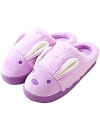 Minetom Mujeres Niñas Otoño Invierno Suave Algodón Felpa Zapatillas Cartoon Zapatos Zapatillas de Interior antideslizantes