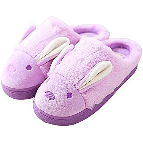 Minetom Mujeres Niñas Otoño Invierno Suave Algodón Felpa Zapatillas Cartoon Zapatos Zapatillas de Interior