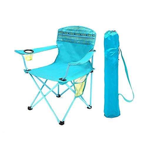Zichen Klappstuhl Camping Chair Outdoor Klappstuhl, Stuhl mit Tragetasche und Getränkehalter, Perfekt for Zuhause/Patio/Terrassendielen/Urlaub/Strand - Blau