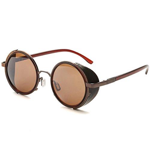 Dollger Steampunk Runde Gläser Retro Unisex Metallkreis Rahmen Sonnenbrille(Braun Linse+Braunrahmen)
