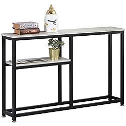 sogesfurniture Table de Console Vintage, Table d'appoint en Bois et métal avec 2 étagères de Rangement pour Entrée, Salon, Chambre, 120x23x75cm, DX-122-BH