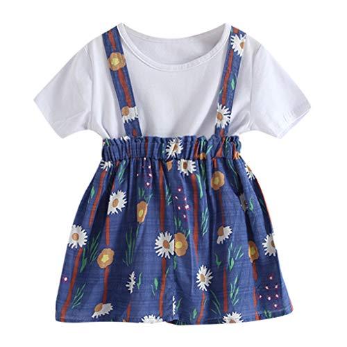 Sanahy Kleinkind Baby Mädchen Polka Dot Fly Sleeve Top + Strap Rock Kleid + Bowknot Stirnband Sommer Kleidung Set (Baby Mädchen Polka Dot Stirnband)