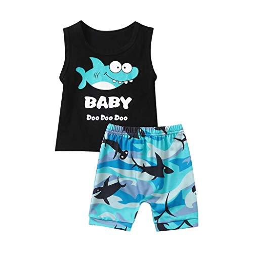 Tyoby Jungen Tops Ärmelloses Hai-Brief-T-Shirt Weste+Hai Baby Shorts,Sommer Mode Babykleidung eingestellt(Blau,90)