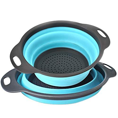 AOLVO Passoire Pliable, Se REFERMER Passoire en Silicone Passoire Pliable sans BPA Pliable vidange Panier Passent au Lave-Vaisselle pour Égouttoir à pâtes Légumes Fruit- Lot de 2