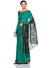 Womanista Women's Cotton Blend Sari With Blouse Piece(FSP418_Black And Teal_Free Size)