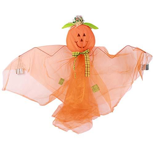 BESTOYARD Halloween Hängende Kürbis Puppe Halloween Hausgarten Yard Bar Dekorationen Party Supplies Spukhaus Requisiten (Orange)