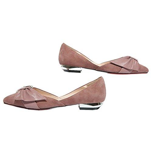 ENMAYER Femmes Ceinture Cheville Sandales Talons Hauts Sandales Pointe Pointue Rencontres Boucles Rivets Chaussures en Métal Rose#09