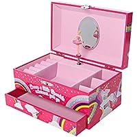GirlZone Regalos para Niñas -Joyero Caja de Música para Niñas Joyero Musical Infantil con Bailarina, Música del Lago de los Cisnes y Espejo - para Anillos, Pulseras, Pendientes