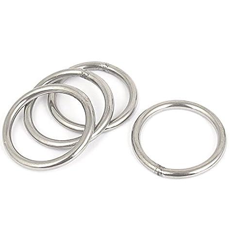Sourcingmap A15112300ux06754x 4,1cm en acier inoxydable Sacs Porte-clés soudé O Ring–Argenté (lot de 4)