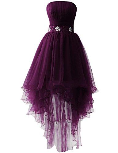 JAEDEN Sans bretelles Tulle Robes de bal Longue Robe de soir¨¦e Robe de f¨ºte Fonc¨¦ Violet